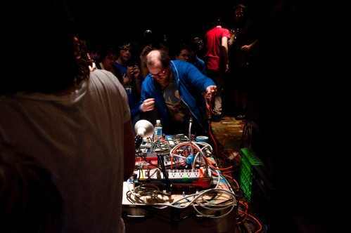 Dan Deacon setting up his rig before the show. Photo by Colin Kerrigan